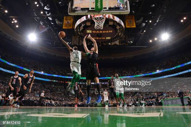 Kyrie Irving of the Boston Celtics drives to the basket during the game against the LA Clippers on February 14 2018 at the TD Garden in Boston...