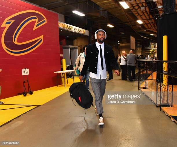 Kyrie Irving of the Boston Celtics enters the arena before the game against the Cleveland Cavaliers on October 17 2017 at Quicken Loans Arena in...