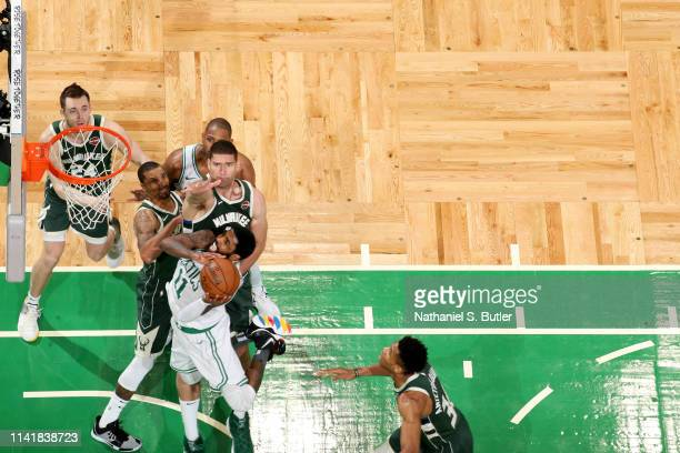 Kyrie Irving of the Boston Celtics goes to the basket against the Milwaukee Bucks during Game Four of the Eastern Conference Semifinals of the 2019...