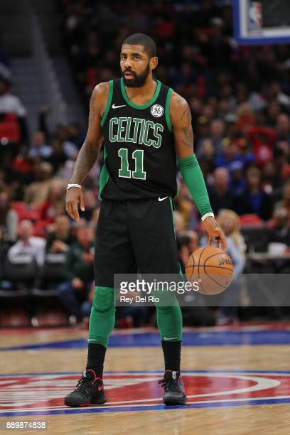 Kyrie Irving of the Boston Celtics handles the ball against the Detroit Pistons at Little Caesars Arena on December 10 2017 in Detroit Michigan NOTE...