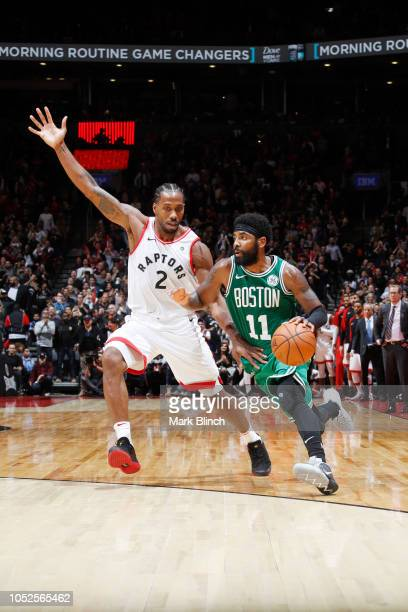 Kyrie Irving of the Boston Celtics handles the ball against the Toronto Raptors on October 19 2018 at the Air Canada Centre in Toronto Ontario Canada...