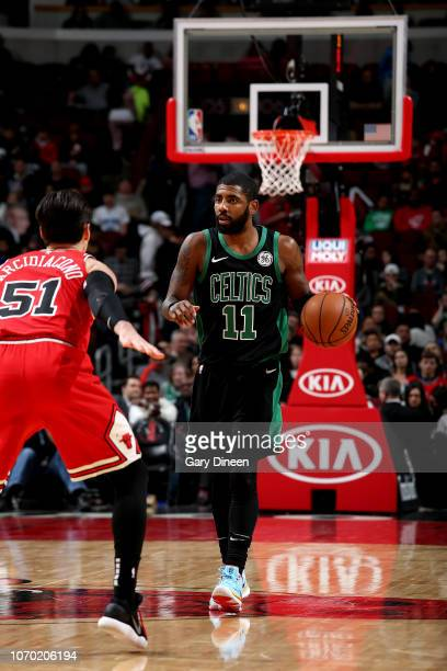 Kyrie Irving of the Boston Celtics handles the ball against the Chicago Bulls on December 8 2018 at the United Center in Chicago Illinois NOTE TO...