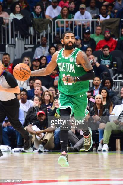 Kyrie Irving of the Boston Celtics handles the ball against the Atlanta Hawks on January 19 2019 at State Farm Arena in Atlanta Georgia NOTE TO USER...