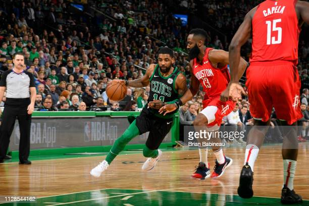 Kyrie Irving of the Boston Celtics handles the ball against the Houston Rockets on March 3 2019 at the TD Garden in Boston Massachusetts NOTE TO USER...