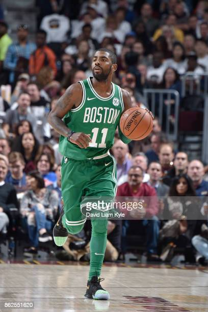 Kyrie Irving of the Boston Celtics handles the ball against the Cleveland Cavaliers on October 17 2017 at Quicken Loans Arena in Cleveland Ohio NOTE...