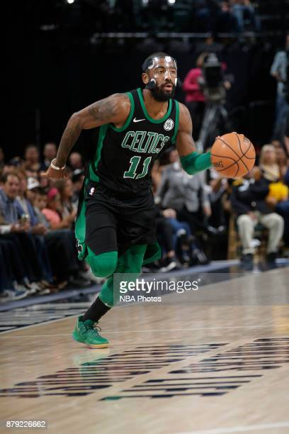 Kyrie Irving of the Boston Celtics handles the ball against the Indiana Pacers on November 25 2017 at Bankers Life Fieldhouse in Indianapolis Indiana...