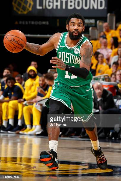 Kyrie Irving of the Boston Celtics handles the ball against the Indiana Pacers during Game Four of Round One of the 2019 NBA Playoffs on April 21...
