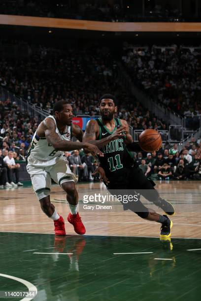 Kyrie Irving of the Boston Celtics handles the ball against the Milwaukee Bucks during Game One of the Eastern Conference Semifinals of the 2019 NBA...