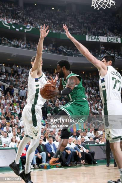 Kyrie Irving of the Boston Celtics handles the ball against the Milwaukee Bucks during Game Two of the Eastern Conference Semifinals of the 2019 NBA...