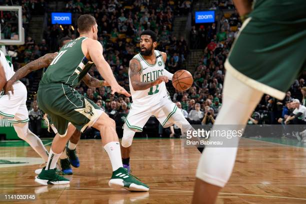 Kyrie Irving of the Boston Celtics handles the ball against the Milwaukee Bucks during Game Three of the Eastern Conference Semifinals of the 2019...