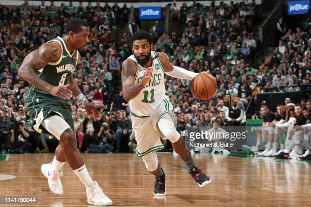 Kyrie Irving of the Boston Celtics handles the ball against the Milwaukee Bucks during Game Four of the Eastern Conference Semifinals of the 2019 NBA...