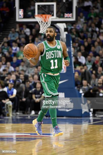 Kyrie Irving of the Boston Celtics handles the ball against the Philadelphia 76ers during the 2018 NBA London Game at the 02 Arena on January 11 2018...
