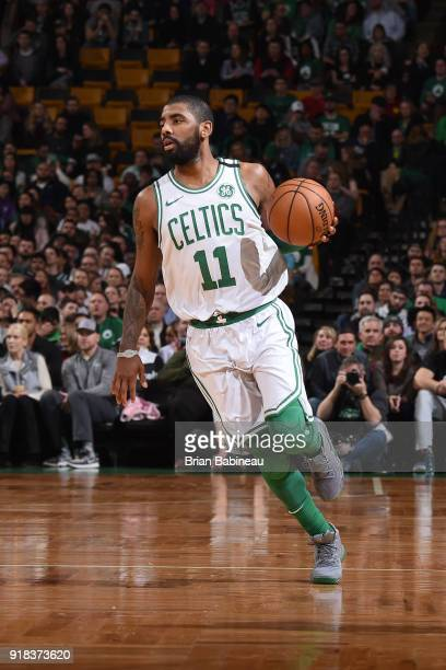 Kyrie Irving of the Boston Celtics handles the ball during the game against the LA Clippers on February 14 2018 at the TD Garden in Boston...