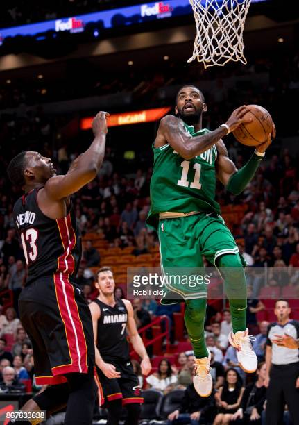 Kyrie Irving of the Boston Celtics in action during the second half of the game against the Miami Heat at the American Airlines Arena on October 28...