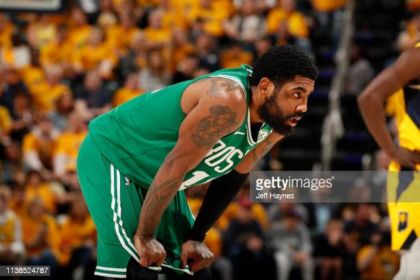 Kyrie Irving of the Boston Celtics looks on against the Indiana Pacers during Game Four of Round One of the 2019 NBA Playoffs on April 21 2019 at...