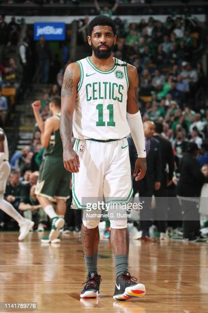 Kyrie Irving of the Boston Celtics looks on against the Milwaukee Bucks during Game Four of the Eastern Conference Semifinals of the 2019 NBA...