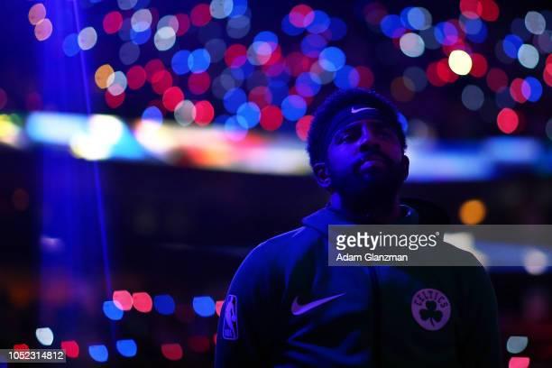 Kyrie Irving of the Boston Celtics looks on before a game against the Philadelphia 76ers at TD Garden on October 16 2018 in Boston Massachusetts NOTE...