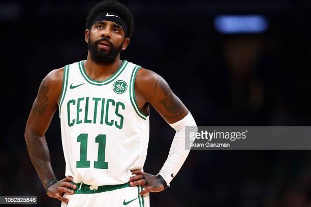 Kyrie Irving of the Boston Celtics looks on during a game against the Philadelphia 76ers at TD Garden on October 16 2018 in Boston Massachusetts NOTE...
