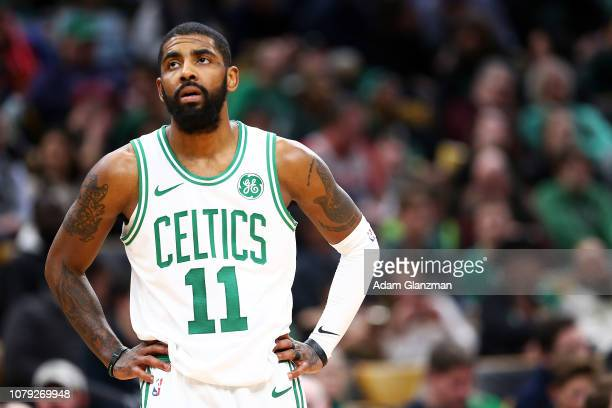Kyrie Irving of the Boston Celtics looks on during a game against the Brooklyn Nets at TD Garden on January 7 2019 in Boston Massachusetts NOTE TO...