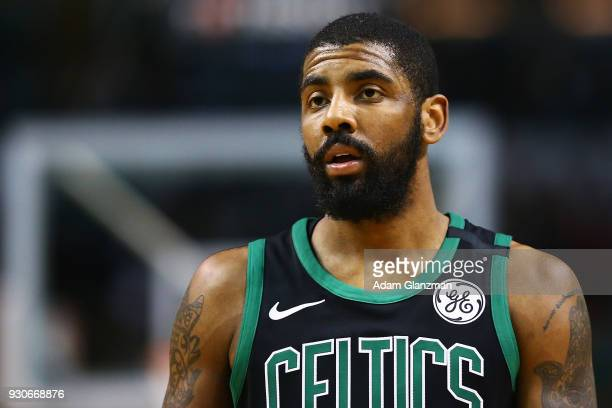 Kyrie Irving of the Boston Celtics looks on during a game against the Indiana Pacers at TD Garden on March 11 2018 in Boston Massachusetts NOTE TO...