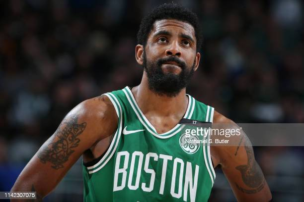 Kyrie Irving of the Boston Celtics looks on during Game Five of the Eastern Conference Semifinals of the 2019 NBA Playoffs on May 8 2019 at the...