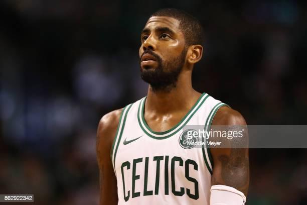 Kyrie Irving of the Boston Celtics looks on during the fourth quarter against the Milwaukee Bucks at TD Garden on October 18 2017 in Boston...