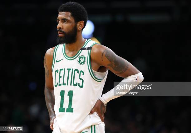 Kyrie Irving of the Boston Celtics looks on during the second half of Game 4 of the Eastern Conference Semifinals against the Milwaukee Bucks during...