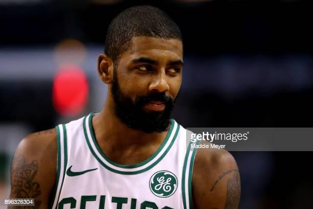 Kyrie Irving of the Boston Celtics looks on during the second quarter against the Miami Heat at TD Garden on December 20 2017 in Boston Massachusetts