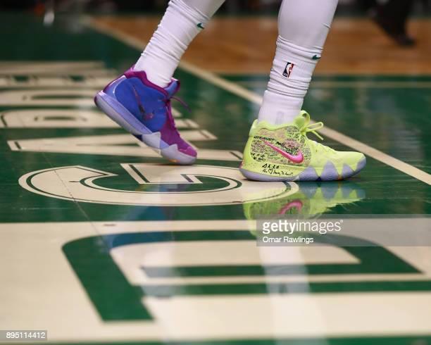 Kyrie Irving of the Boston Celtics new Nike sneakers during the game against the Utah Jazz at TD Garden on December 15 2017 in Boston Massachusetts...