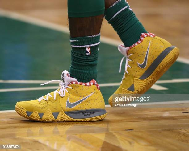 Kyrie Irving of the Boston Celtics Nike sneakers before the game between the Boston Celtics and the LA Clippers at TD Garden on February 14 2018 in...
