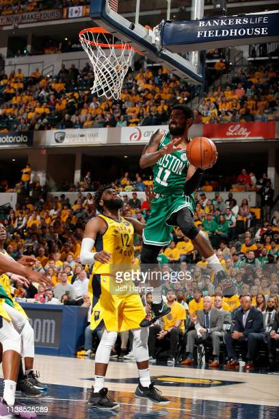 Kyrie Irving of the Boston Celtics passes the ball against the Indiana Pacers during Game Four of Round One of the 2019 NBA Playoffs on April 21 2019...