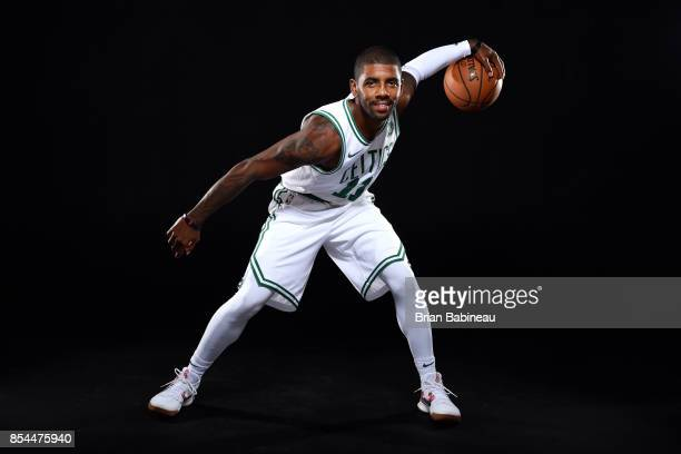 Kyrie Irving of the Boston Celtics poses for a portrait during the 201718 NBA Media Day on September 25 2017 at the TD Garden in Boston Massachusetts...