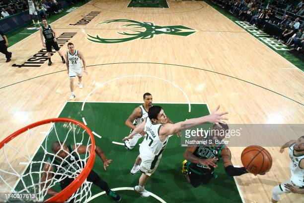 Kyrie Irving of the Boston Celtics puts up the shot against the Milwaukee Bucks during Game One of the Eastern Conference Semifinals of the 2019 NBA...
