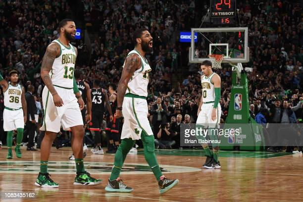Kyrie Irving of the Boston Celtics reacts against the Toronto Raptors on January 16 2019 at the TD Garden in Boston Massachusetts NOTE TO USER User...