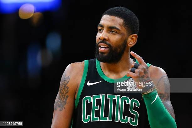 Kyrie Irving of the Boston Celtics reacts during a game against the Houston Rockets at TD Garden on March 3 2019 in Boston Massachusetts NOTE TO USER...