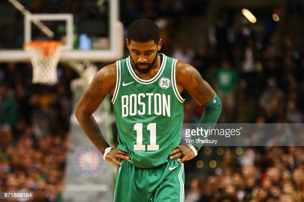 Kyrie Irving of the Boston Celtics reacts during the first quarter against the Los Angeles Lakers at TD Garden on November 8 2017 in Boston...