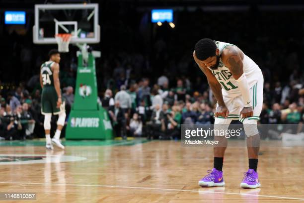 Kyrie Irving of the Boston Celtics reacts during the fourth quarter of Game 3 of the Eastern Conference Semifinals against the Milwaukee Bucks during...