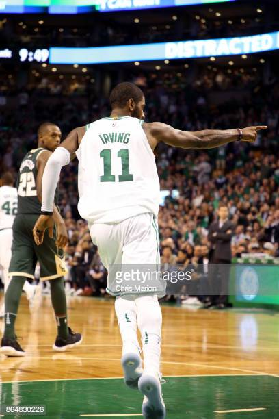 Kyrie Irving of the Boston Celtics reacts during the game against the Milwaukee Bucks on October 18 2017 at the TD Garden in Boston Massachusetts...