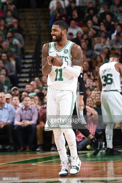 Kyrie Irving of the Boston Celtics reacts during the game against the San Antonio Spurs on October 30 2017 at the TD Garden in Boston Massachusetts...