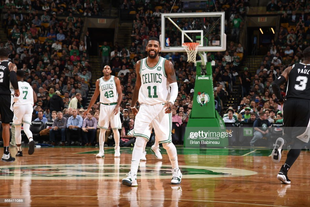 Kyrie Irving #11 of the Boston Celtics reacts during the game against the San Antonio Spurs against the San Antonio Spurs on October 30, 2017 at the TD Garden in Boston, Massachusetts.