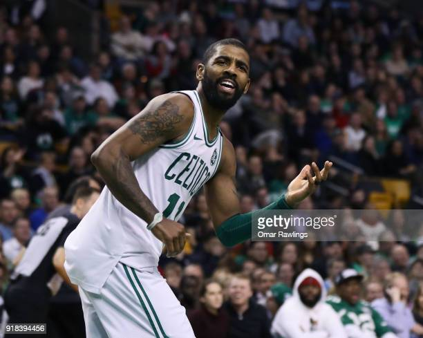 Kyrie Irving of the Boston Celtics reacts during the second half of the game against the LA Clippers at TD Garden on February 14 2018 in Boston...