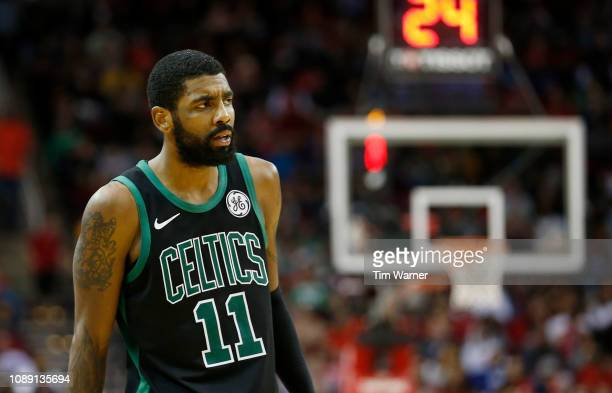 Kyrie Irving of the Boston Celtics reacts in the second half against the Houston Rockets at Toyota Center on December 27 2018 in Houston Texas NOTE...