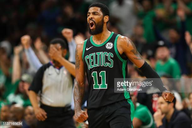 Kyrie Irving of the Boston Celtics reacts in the third quarter during Game One of the first round of the 2019 NBA Eastern Conference Playoffs against...
