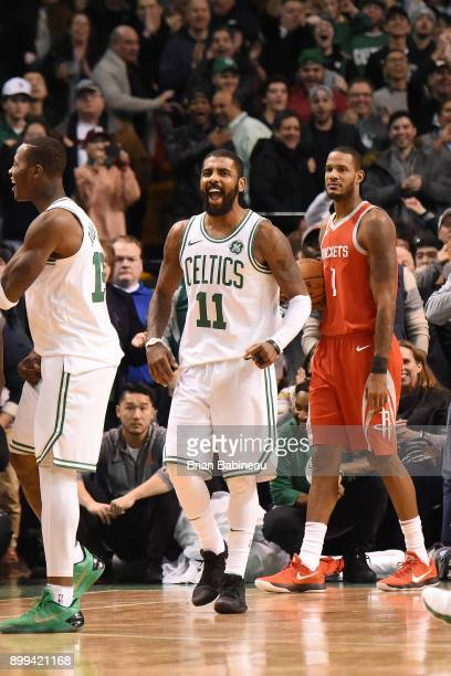 Kyrie Irving of the Boston Celtics reacts on the court against the Houston Rockets on December 28 2017 at the TD Garden in Boston Massachusetts NOTE...