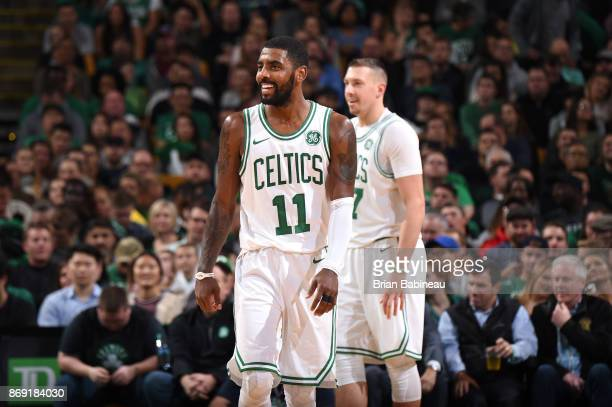 Kyrie Irving of the Boston Celtics reacts to a play against the Sacramento Kings on November 1 2017 at the TD Garden in Boston Massachusetts NOTE TO...
