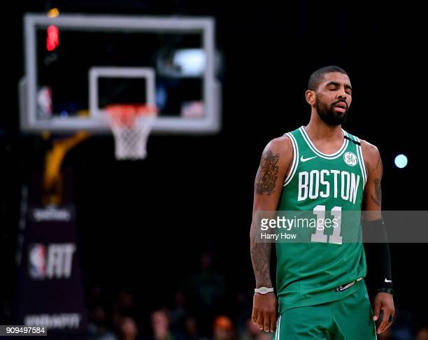 Kyrie Irving of the Boston Celtics reacts when no foul is called on the Los Angeles Lakers during a 108107 Laker win at Staples Center on January 23...