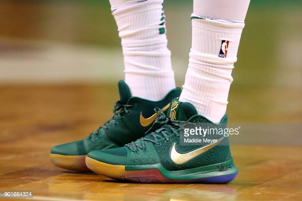 Kyrie Irving of the Boston Celtics' shoes during the first quarter against the Minnesota Timberwolves at TD Garden on January 5 2018 in Boston...