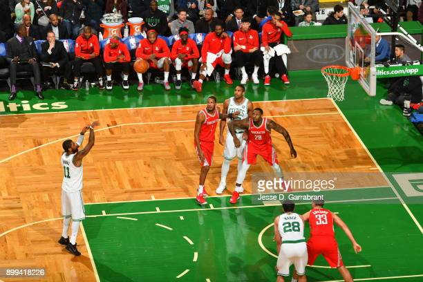 Kyrie Irving of the Boston Celtics shoots a foul shot late in the game during the game against the Houston Rockets on December 28 2017 at the TD...