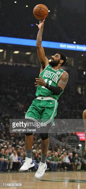 Kyrie Irving of the Boston Celtics shoots against the Milwaukee Bucks at Fiserv Forum on May 08 2019 in Milwaukee Wisconsin NOTE TO USER User...