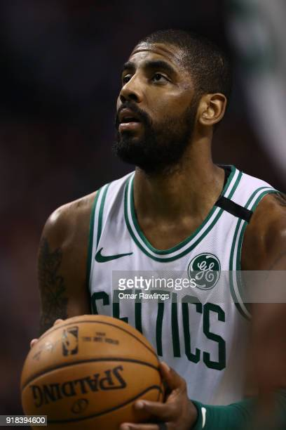 Kyrie Irving of the Boston Celtics shoots free throws during the third quarter of the game against the LA Clippers at TD Garden on February 14 2018...